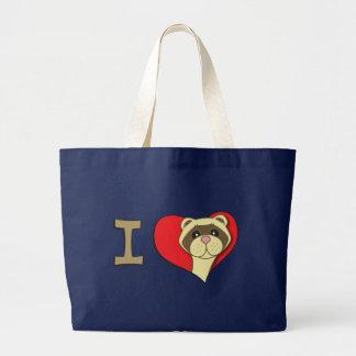 I heart ferrets large tote bag