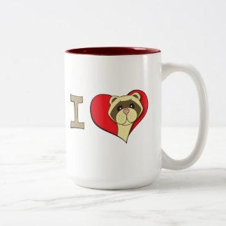 I heart ferrets Two-Tone coffee mug