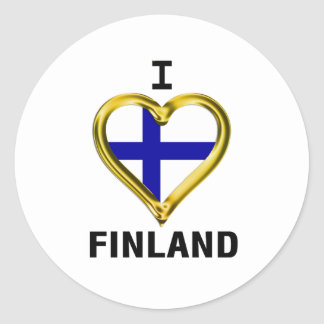 I HEART FINLAND ROUND STICKER