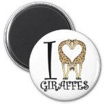 I Heart Giraffes 2 Inch Round Magnet