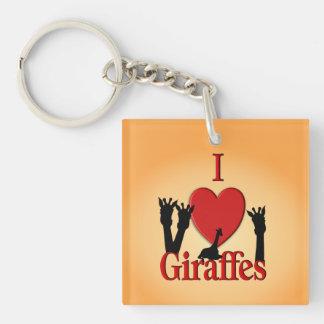 I Heart Giraffes Double-Sided Square Acrylic Keychain