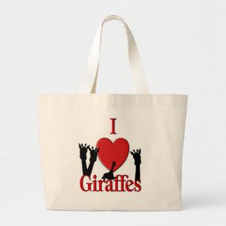 I Heart Giraffes Large Tote Bag