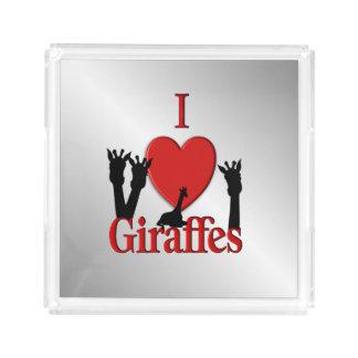 I Heart Giraffes Silver Acrylic Tray