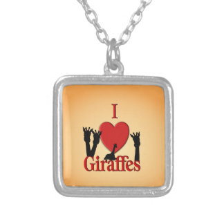 I Heart Giraffes Silver Plated Necklace