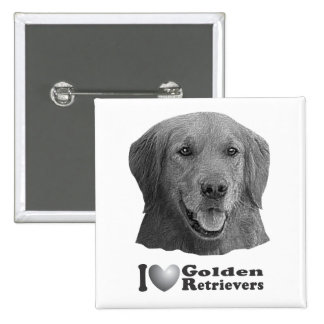I Heart Golden Retrievers w/Stylized Image Button