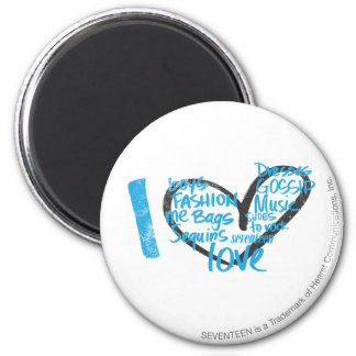 I Heart Graffiti Aqua 2 Inch Round Magnet