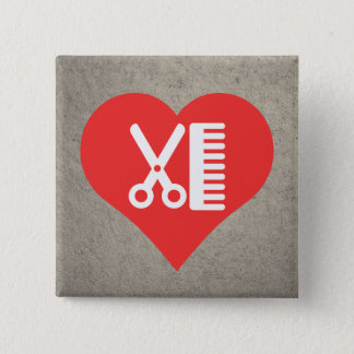 I Heart Hairdresser'S Tools Icon 2 Inch Square Button