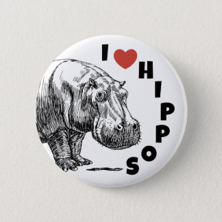 I heart hippos - hippo lovers and fans pin! 2 inch round button