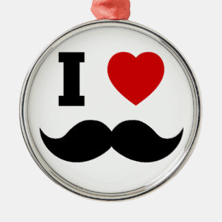 I Heart Hipster Mustache Silver-Colored Round Ornament