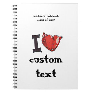 i heart i love cartoon customizable spiral notebooks
