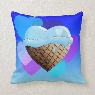 I (Heart) Ice Cream! Blue Throw Pillow