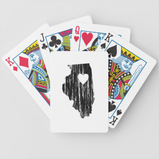I Heart Illinois Grunge Worn Outline State Love Bicycle Playing Cards