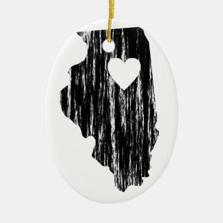 I Heart Illinois Grunge Worn Outline State Love Ceramic Ornament