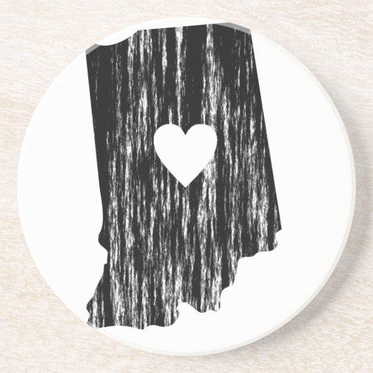 I Heart Indiana Grunge Worn Outline State Love Coaster