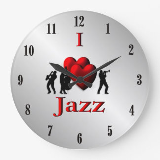 I Heart Jazz Music Silver Large Clock