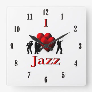 I Heart Jazz Music Square Wall Clock
