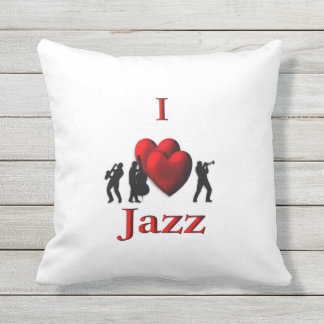 I Heart Jazz Outdoor Pillow