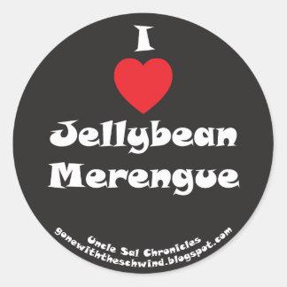 I Heart Jellybean Merengue black Classic Round Sticker