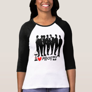 I Heart KPOP in Korean Ladies 3/4 Sleeve Raglan (F T-Shirt