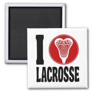 I Heart Lacrosse Square Magnet
