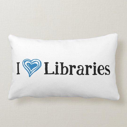I [Heart] Libraries (black/blue) Lumbar Pillow