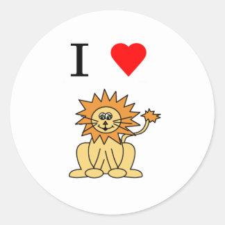 i heart lion round sticker