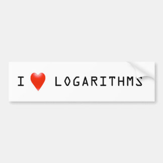 I Heart Logarithms Bumper Sticker