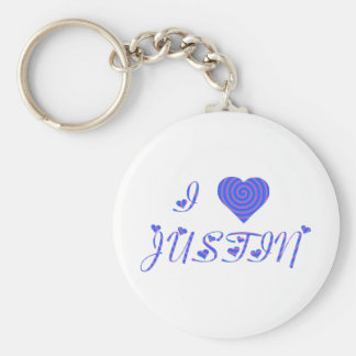 I HEART / LOVE 80's Rainbow Keychain, Personalized Basic Round Button Keychain