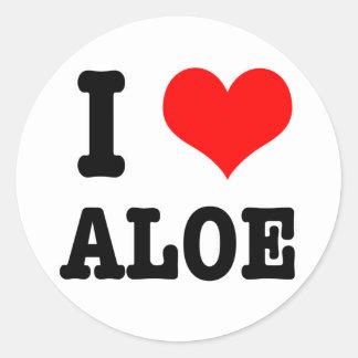 I HEART (LOVE) ALOE CLASSIC ROUND STICKER