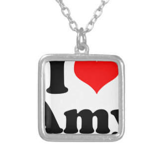 I Heart / Love Amy Silver Plated Necklace