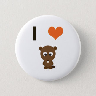 I heart (love)  Beavers 2 Inch Round Button