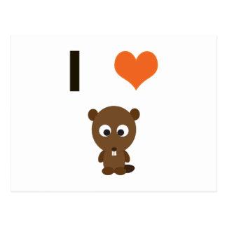 I heart (love)  Beavers Postcard