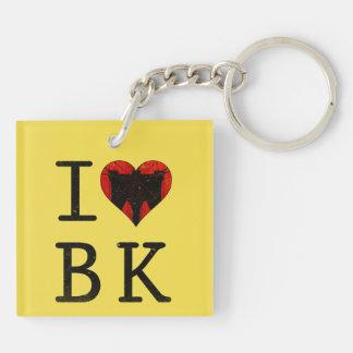 I Heart Love Brooklyn New York Keyring Double-Sided Square Acrylic Keychain