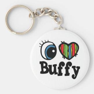 I Heart (Love) Buffy Basic Round Button Keychain