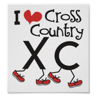 I heart (love) Cross Country © Running XC Poster