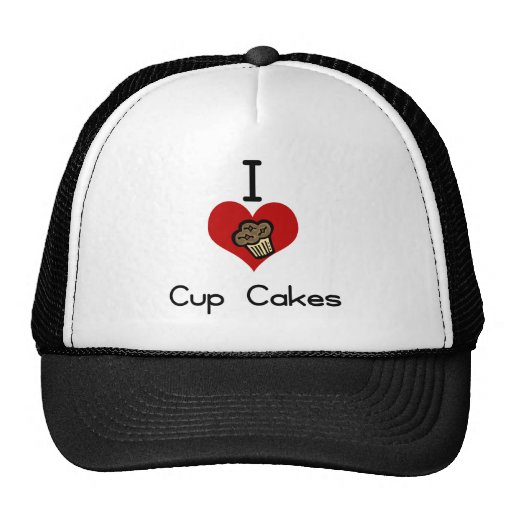 I heart-love cupcakes mesh hat