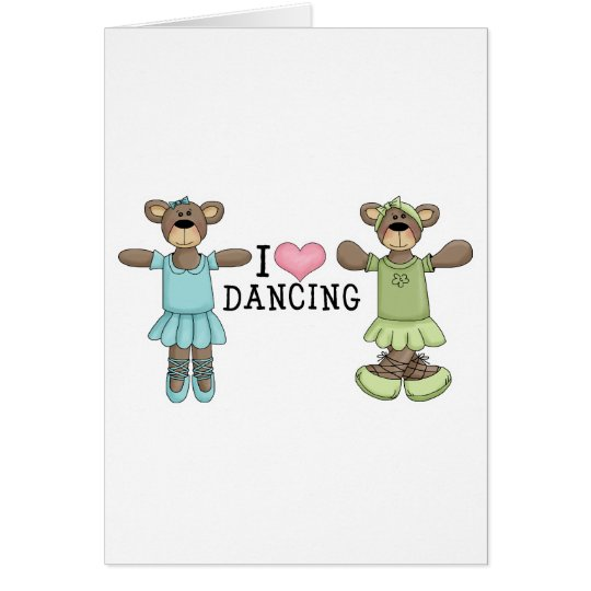 I Heart Love Dancing With Ballet Bears Card