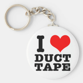 I HEART (LOVE) duct tape Basic Round Button Keychain