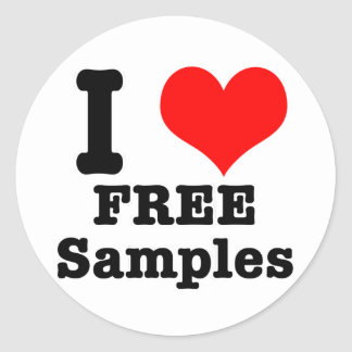 I HEART (LOVE) free samples Classic Round Sticker