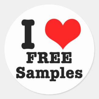 I HEART (LOVE) free samples Round Sticker