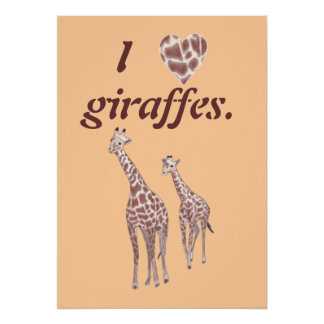 I heart love giraffes, mother child giraffe poster