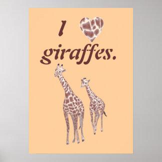 I heart love giraffes, mother child giraffe poster