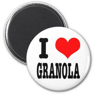 I HEART (LOVE) GRANOLA 2 INCH ROUND MAGNET