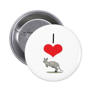 I Heart (Love) Kangaroos 2 Inch Round Button