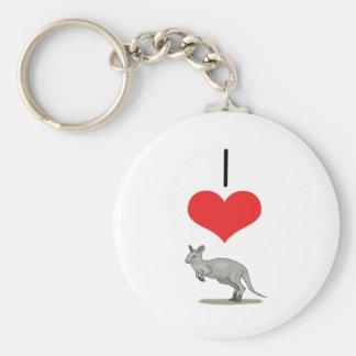I Heart (Love) Kangaroos  Basic Round Button Keychain