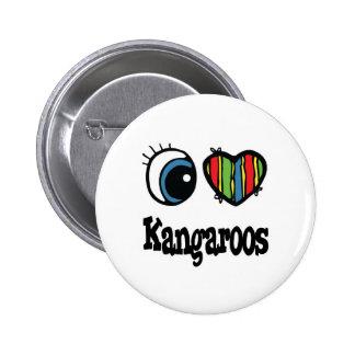 I Heart Love Kangaroos Button