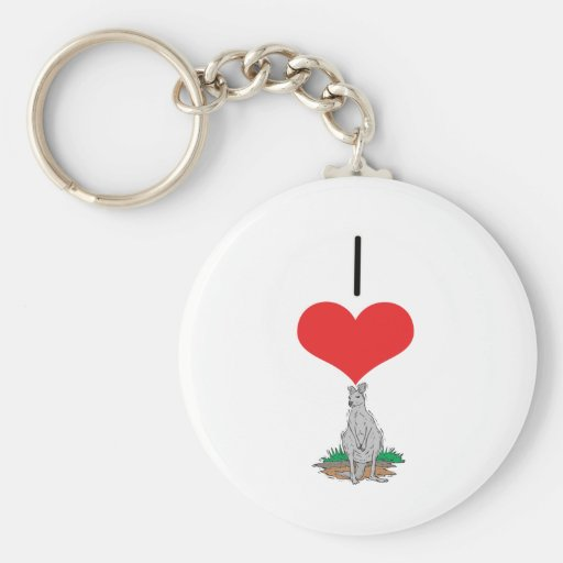 I Heart (Love) Kangaroos Keychains