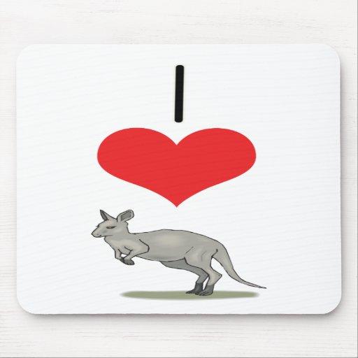 I Heart (Love) Kangaroos Mouse Mats