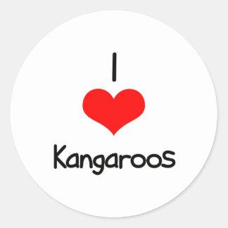 I Heart (Love) Kangaroos Round Sticker
