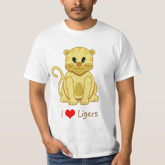 I Heart (Love) Ligers Cute Cartoon Cat T-Shirt